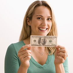 Lady holding up money