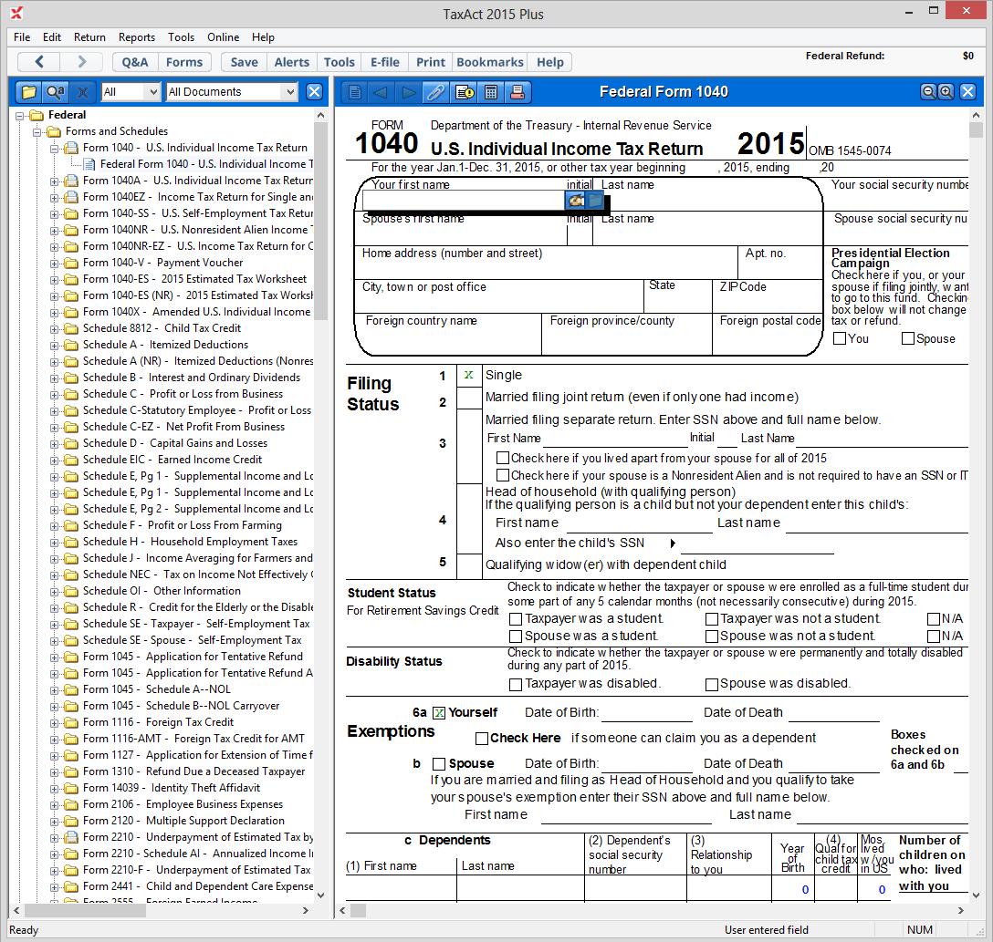 Taxact Plus Forms List