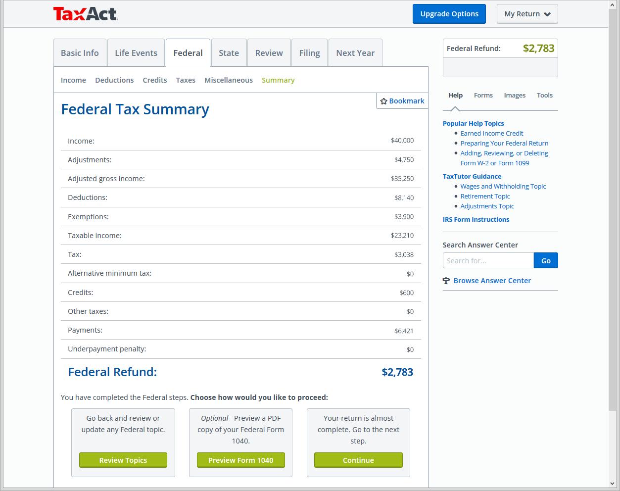 taxact online plus summary