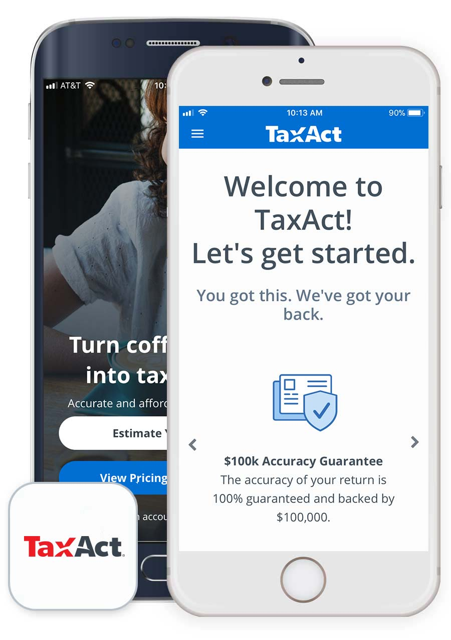 "Mobile devices showing ""Get Started"" page of TaxAct Express app"