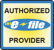 "An image of an e-file badge that says ""Authorized e-file provider""."