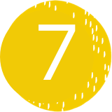 An illustration of a 7 on a yellow background.