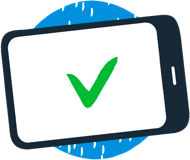 An illustration of a mobile device with a green checkmark.
