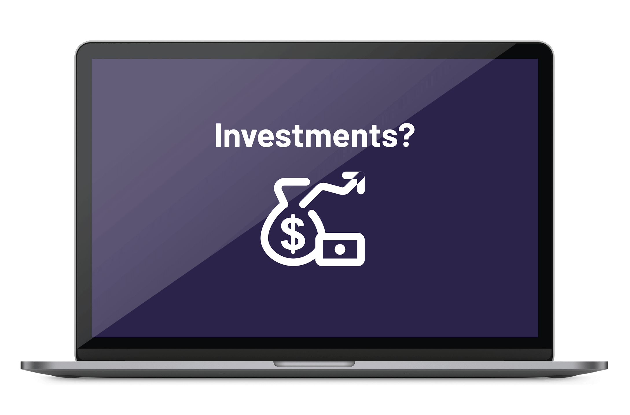 Laptop displaying a text 'Investment?' and dollar sign going up icon