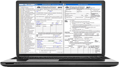 Laptop displaying Taxact Professional software comparison view of prior and current year returns