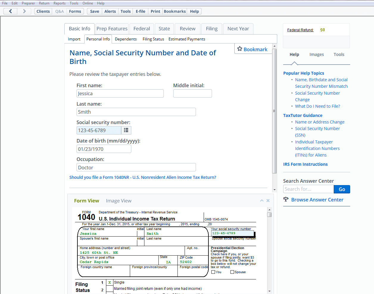 A sample personal info form having fields: Name, Social Security Number, Date of Birth and Occupation
