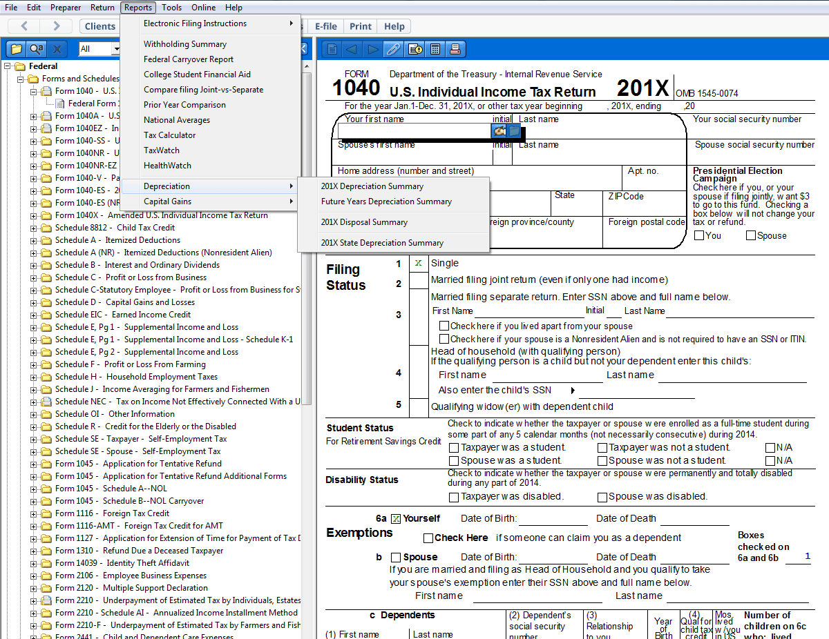 A view of Form 1041, U.S. Individual Income Tax Return 201X