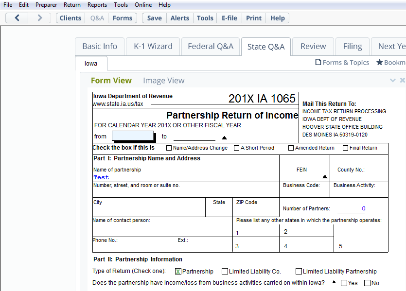 A view of Form 1065, Partnership Return of Income