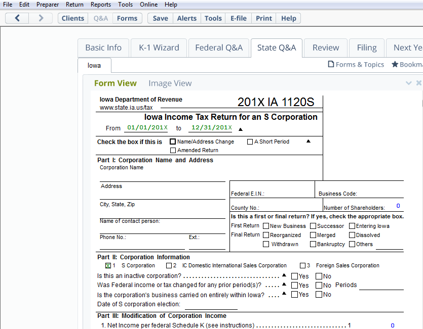 A view of Form 1120S, IOWA Income Tax Return for an S Corporation