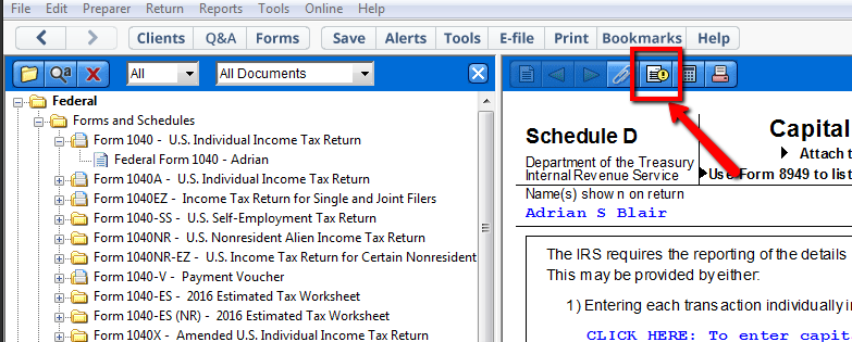 Top tips forms view – TaxAct Professional