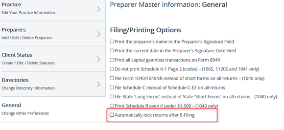 Automatically lock returns after E-filing