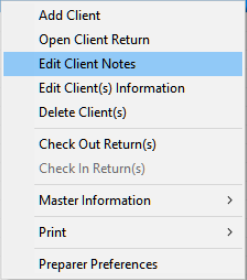 Edit Client Notes